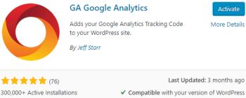 GA Google Analytics Install & Activate