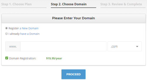 Register New Domain at Siteground
