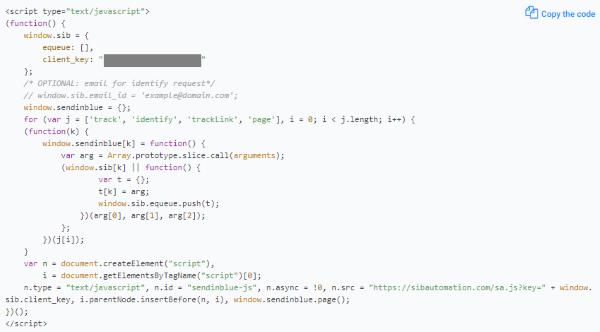 JS Tracking Code (SendInBlue)