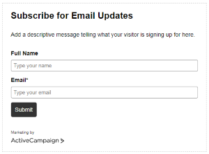 Design web form (ActiveCampaign)