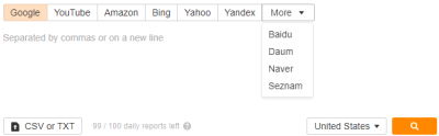 Search Engines Options (Ahrefs Keywords Explorer)