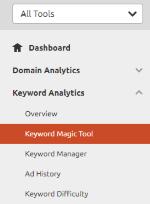 SEMrush (Menu) Keyword Analytics